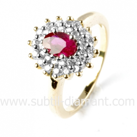 Bague rubis diamant  - Romane - 11955 RU