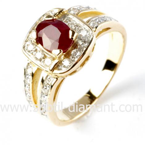 Bague rubis diamant  - Rosaria - 12375 RU