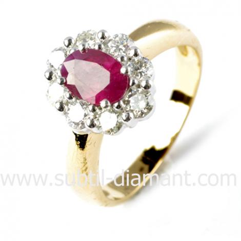 Bague rubis diamant  - Selena - 11516 RU