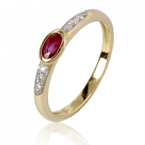 Bague rubis diamant  - Yustina - 12553RU