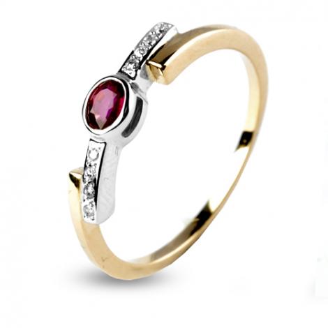 Bague rubis et diamants deux ors diamant  - Azélie - 12585-RU