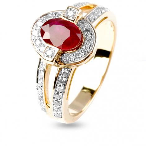 Bague rubis et dimants diamant  - Rolianne - 12385RU