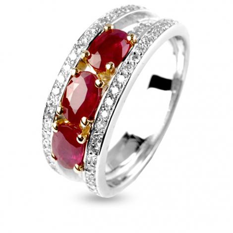 Bague rubis trilogie et diamants diamant  - Agathe - 12296RU