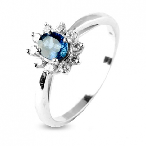 Bague saphir 0.50 ct sertie de diamants 0.20 ct en Or Blanc diamant Lana -10382-SA