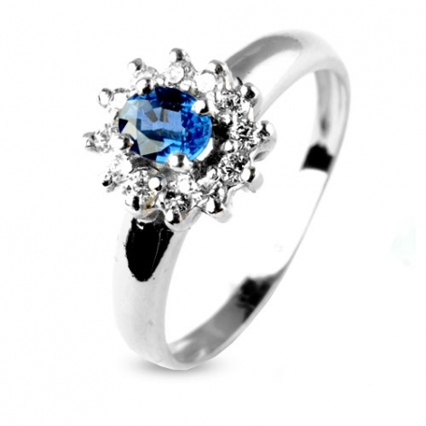 Bague saphir 0.50 ct sertie de diamants 0.24 ct