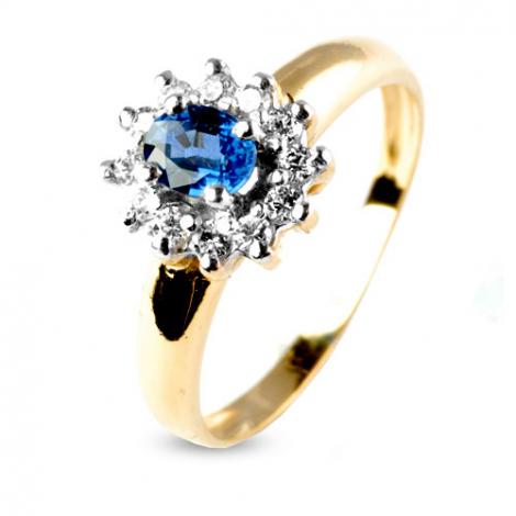Bague saphir 0.50 ct sertie de diamants 0.24 ct en Or Jaune diamant Élizabeth -8888-SA