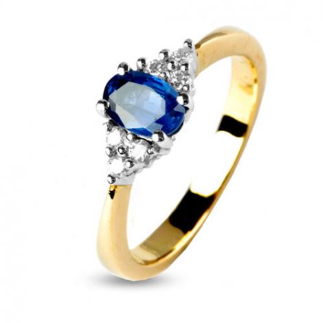 Bague saphir 0.60 ct sertie de 6 diamants 0.12 ct en Or Jaune diamant Théa -11888-SA