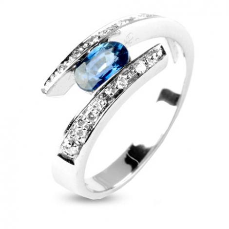 Bague Saphir 0.60 ct sertie de diamants 0.12 ct en Or Blanc diamant Gaelle -11867-SA