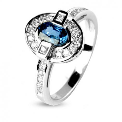 Bague saphir 0.60 ct sertie de diamants 0.24 ct en Or Blanc diamant Orléanne -12511-SA