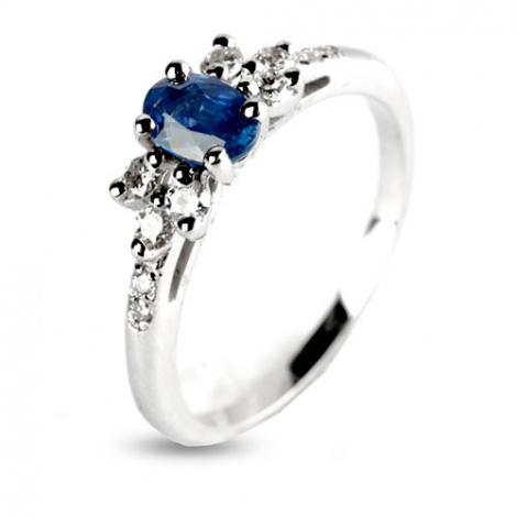 Bague Saphir 0.60 ct sertie de diamants 0.28 ct en Or Blanc diamant Tiana -12433-SA