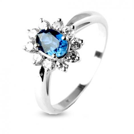 Bague saphir 0.60 ct sertie de diamants 0.35 ct en Or Blanc diamant Amanda -10383-SA