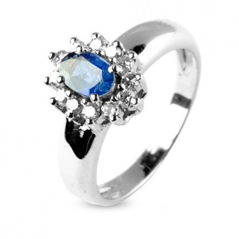 Bague saphir 0.60 ct sertie de diamants 0.36 ct en Or Blanc diamant Mylène -9642-SA