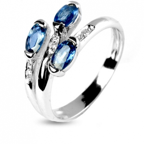 Bague saphir 0.90 ct sertie de diamants 0.03 ct en Or Blanc diamant Floralie -11285-SA
