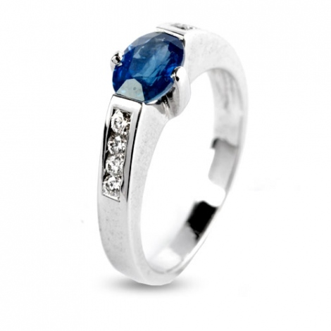bague Saphir 1.09 carats sertie de diamants 0.17 ct en Or Blanc diamant Silvia -9642.50