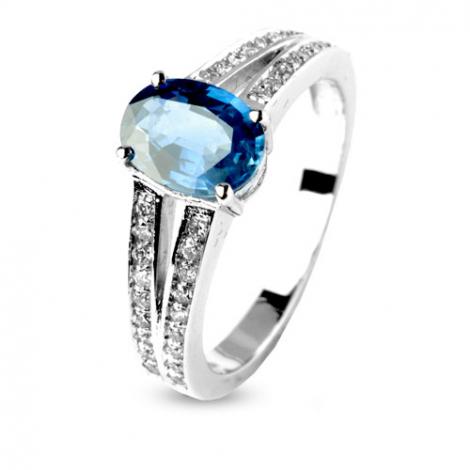 Bague saphir 1.30 carat sertie de diamants 0.36 ct en Or Blanc diamant Kélia -12537-SA