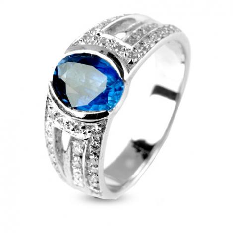 Bague saphir 1.30 carats sertie de diamants 0.40 ct en Or Blanc diamant Passion -11586-SA