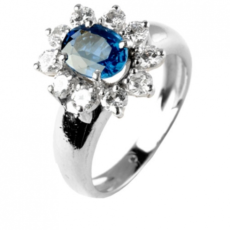 Bague saphir 1.30 carats sertie de diamants 1 carat