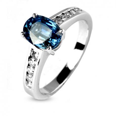 Bague saphir 1.30 ct sertie de diamants 0.30 ct en Or Blanc diamant Lise -12455-SA
