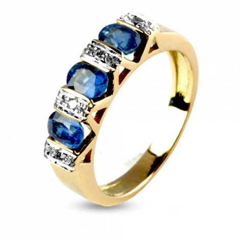 Bague Saphir 1.80 carats sertie de diamants 0.06 ct en Or Jaune diamant Ilaria -10559-SA