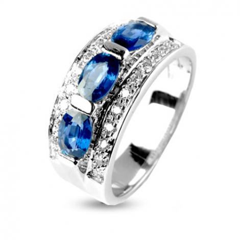 Bague Saphir 1.80 carats sertie de diamants 0.33 ct en Or Blanc diamant Enchantée -11919-SA