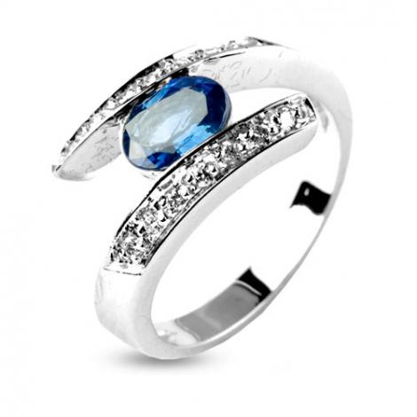 Bague Saphir 1 carat sertie de diamants 0.14 ct en Or Blanc diamant Mathilda -11866-SA