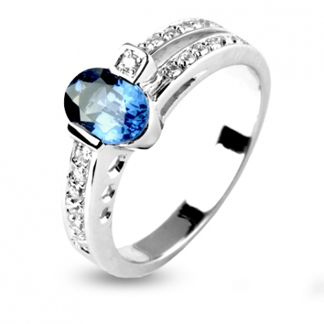 Bague Saphir 1 carat sertie de diamants 0.19 ct en Or Blanc diamant Ophélie -12378-SA