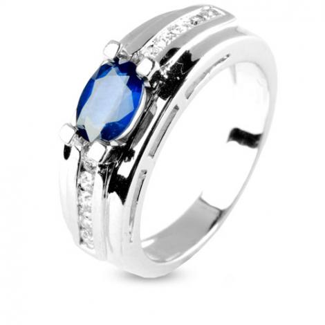 Bague saphir 1 carat sertie de diamants 0.25 ct en Or Blanc diamant Emma -9638-SA