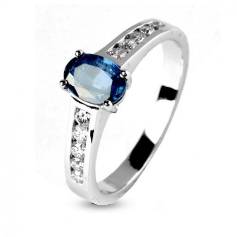 Bague saphir 1 carat sertie de diamants 0.25 ct en Or Blanc diamant Pasionaria -12448-SA