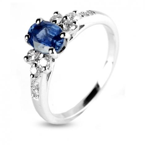 Bague Saphir 1 carat sertie de diamants  0.28 ct en Or Blanc diamant Heidi -12435-SA