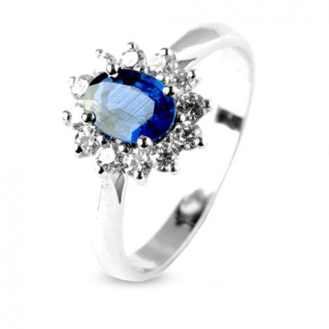 Bague saphir 1 carat sertie de diamants 0.42 ct en Or Blanc diamant Élara -10342-SA