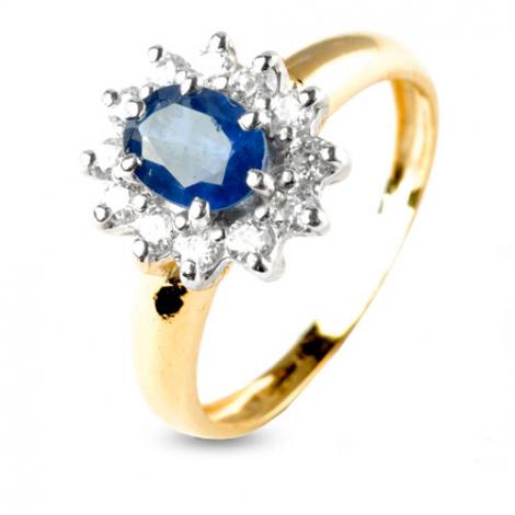 Bague saphir 1 carat sertie de diamants 0.48 ct en Or Jaune diamant Leïla -8943-SA