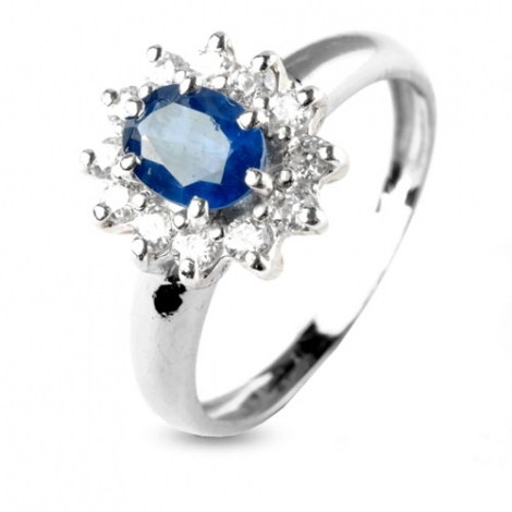 Bague saphir 1 carat sertie de diamants 0.48 ct