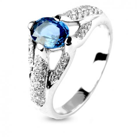 Bague saphir 1 carat sertie de diamants 0.54 ct en Or Blanc diamant Irène -12349-SA