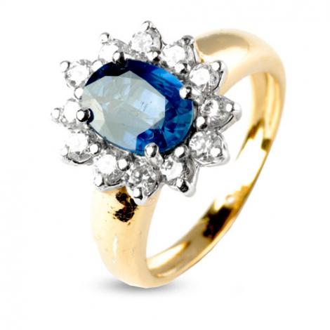 Bague saphir de 2 carats sertie de diamants 0.60 ct en Or Jaune diamant Fanny -7936-SA