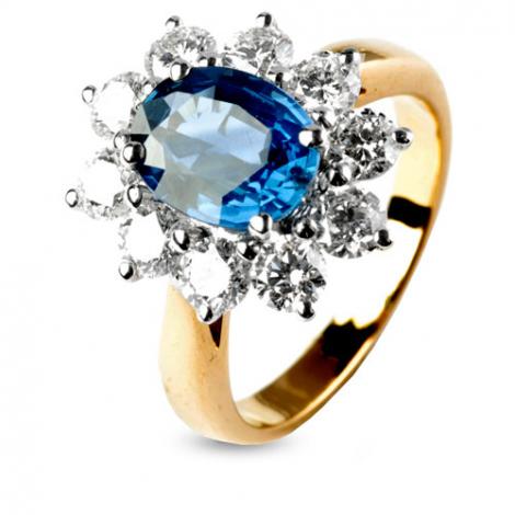 Bague saphir de 2 carats sertie de diamants 1.40 carats en Or Jaune diamant Rosalie -10906-SA
