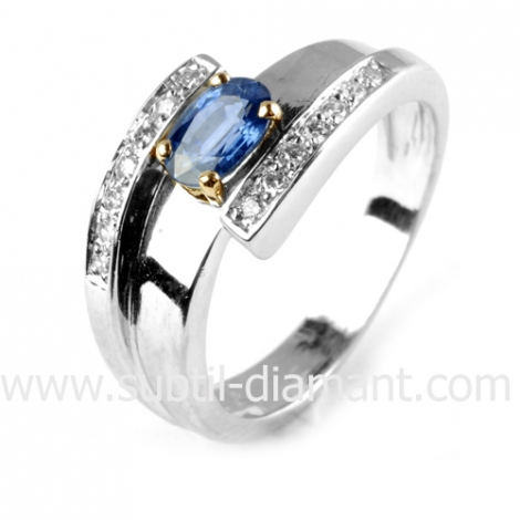 Bague saphir en 2 Ors diamant Artémis -10935 SA