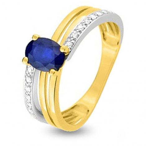 Bague Saphir en 2 Ors diamant Brianna -MZB15BSB4