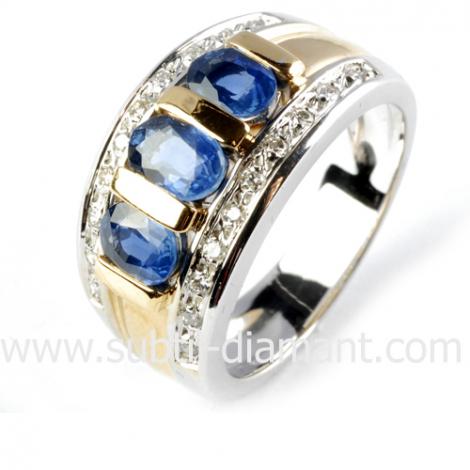 Bague saphir en 2 Ors diamant Héloïse -10965 SA