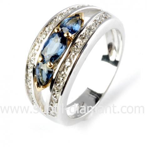 Bague saphir en 2 Ors diamant Kiana -10961 SA