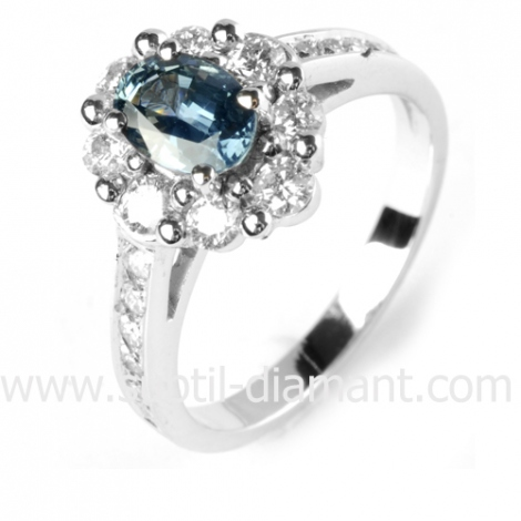 Bague saphir en Or Blanc diamant Arianna -12529 SA