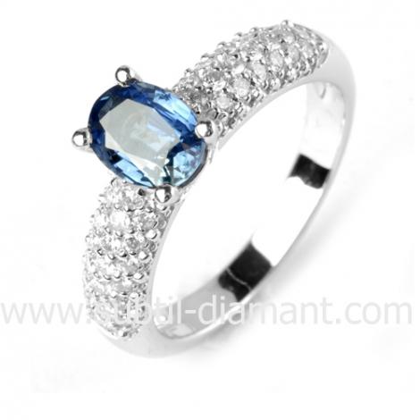 Bague saphir en Or Blanc diamant Axelle -12361 SA
