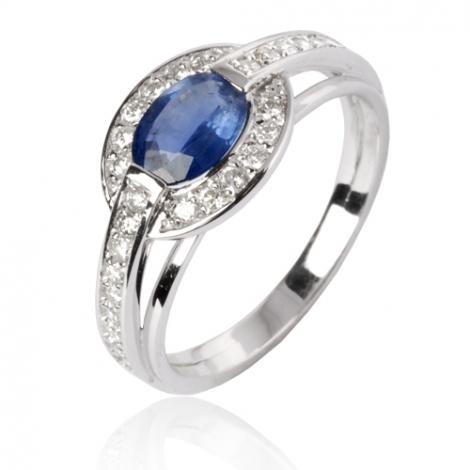 Bague saphir en Or Blanc diamant Cœur -12858 SA