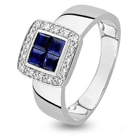 Bague Saphir en Or Blanc diamant Carla -MS064GSB4