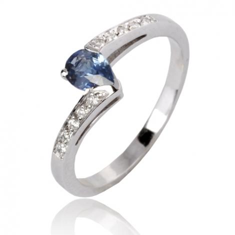 Bague saphir en Or Blanc diamant Cassiopée -12577SA