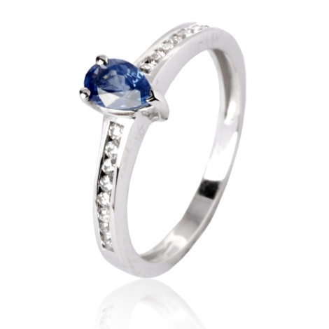 Bague saphir en Or Blanc diamant Celestis -12775 SA