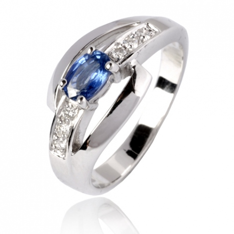 Bague saphir en Or Blanc diamant Clarence -12800 SA