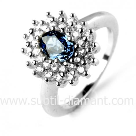 Bague saphir en Or Blanc diamant Coralyne -11877 SA