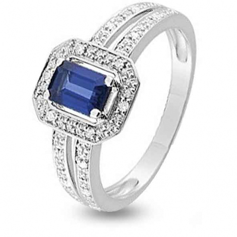 Bague Saphir en Or Blanc diamant Eclatante -KS004GSKB