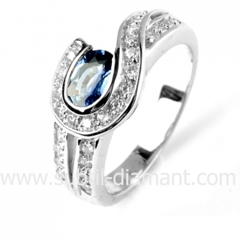 Bague saphir en Or Blanc diamant Eleonora -12377 SA
