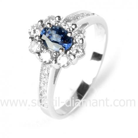 Bague saphir en Or Blanc diamant Gaia -12528 SA